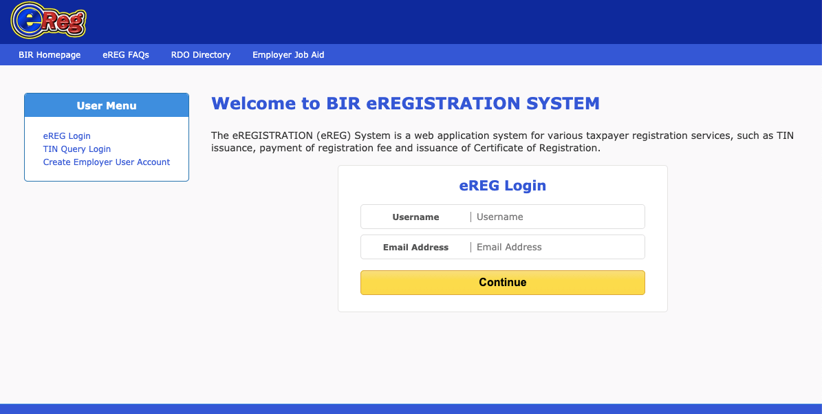 login to the BIR ereg system