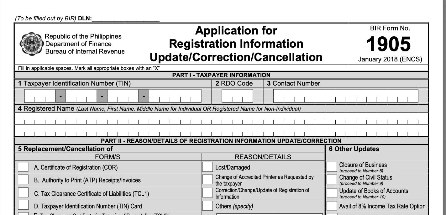 screenshot of BIR Form 1905
